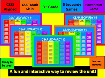TCAP & CSAP Math Jeopardy Review Games Third Grade