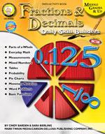 Daily Skill Builders: Fractions & Decimals by Mark Twain Media
