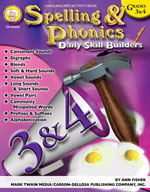Daily Skill Builders: Spelling and Phonics: Grades 3-4 by