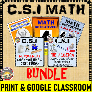 CSI and Math Story BUNDLE: Use Math to solve these Mysteries! by Box of Possibilities