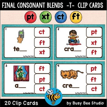 ESL Phonics: CT, FT, XT, PT Clip Cards