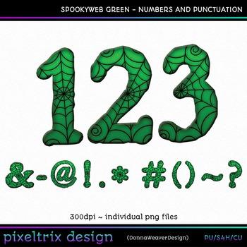 CU4CU *SPOOKYWEB - GREEN* Numbers and Punctuation Printabl