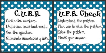CUBE & UPS Check Math Posters & Student Reminder Page: Blu