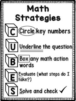 CUBES:  Math Strategies Poster