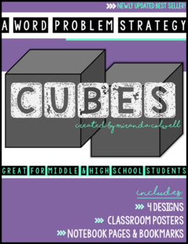 CUBES Word Problem Strategy Posters, Notebook Page, and Bookmarks