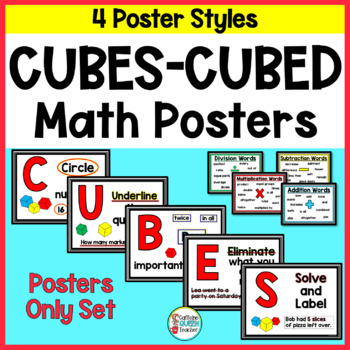 CUBES Math Strategy Posters For Word Problems