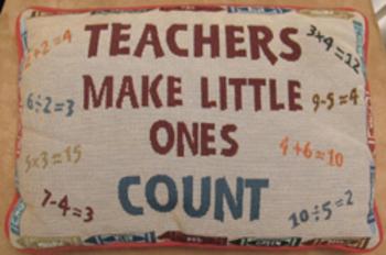 CUSHION PILLOW TEACHERS MAKE LITTLE ONES COUNT math crayon