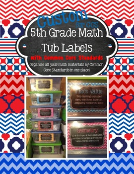 CUSTOM Patriotic 5th Grade Math Tub Labels (with Common Co