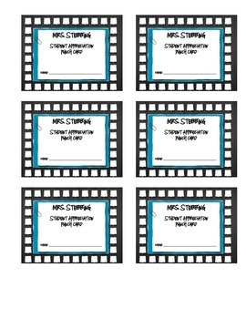 CUSTOMIZED Student Reward Punch Cards