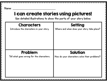 CUTE Kindergarten writing pages using pictures, words, & s