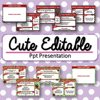 Editable Lady Bug Themed Morning Work / Routine PowerPoint