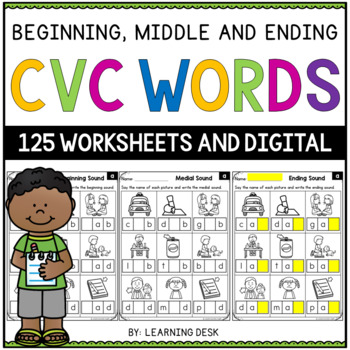 CVC Worksheets (Beginning, Middle And Ending Sounds)