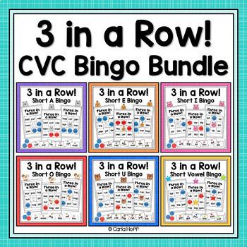 CVC Word Bingo Bundle - 6 Bingo Games for Short Vowels!
