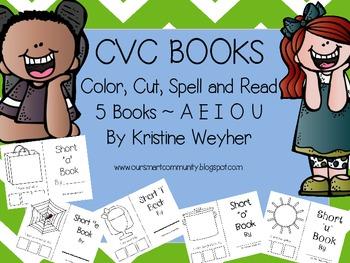 CVC Books Color, Cut, Spell and Read A E I O U 5 Books Word Work