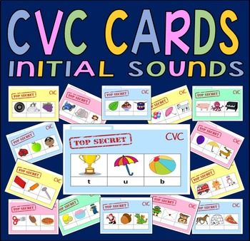 CVC CARDS - INITIAL SOUNDS RESOURCES EYFS KS1 LITERACY ENG