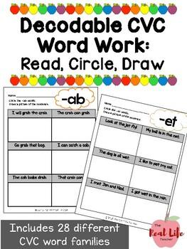 CVC CVCC Short Vowel Word Family Read Circle Draw for Comp