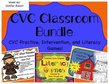 CVC Classroom Bundle- Practice Pages, Intervention Super P