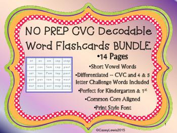 CVC Decodable Short Vowel Flashcards NO PREP BUNDLE 14 pag
