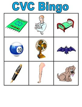 CVC, Digraph, and long vowel spelling pattern BINGO