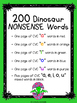 CVC Dinosaur Nonsense Words - Phonemic Awareness