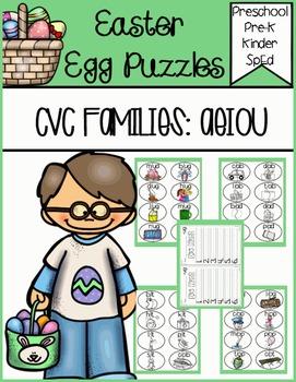 CVC Families Egg Puzzles (Color/BW)