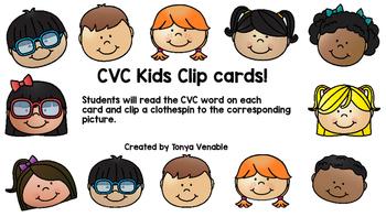 CVC Kid Faces Picture Clip Game