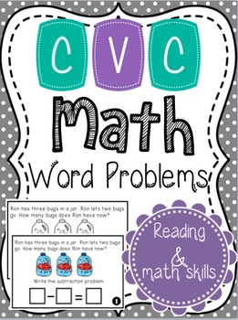 CVC Math Subtraction Problems Within Ten {Color and B&W}