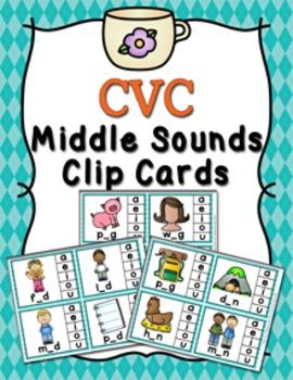 CVC Middle Sounds Clip Cards