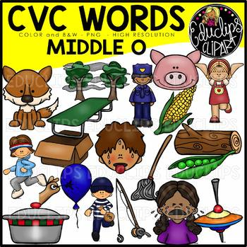 CVC Middle o Words Clip Art Bundle {Educlips Clipart}