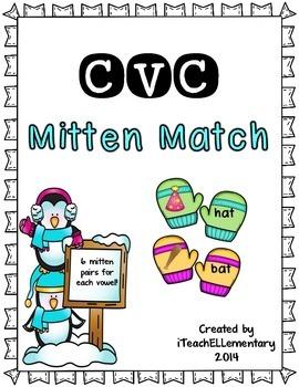 CVC Mitten Match {Short Vowel Matching Game}