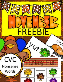 CVC - Nonsense Words Turkey Fun Game