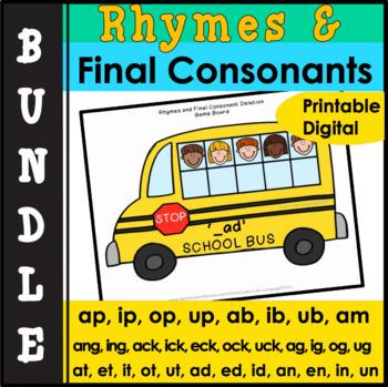 Phonology: Final Consonant Deletion & Rhymes Activity Bundle