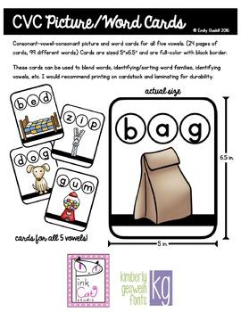 CVC Picture Word Cards Bundle (Initial, Medial, Final Soun