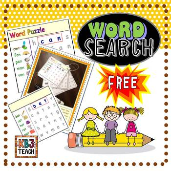 "FREE CVC Word Search (Short ""A"")  RF.K.2d"
