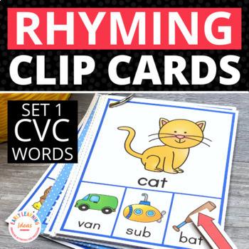 Rhyming Activity for Kids: CVC Rhyming Clip Cards
