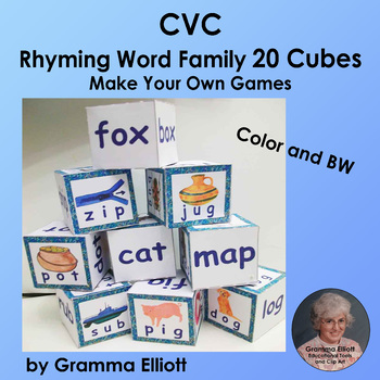 CVC Rhyming Word Family Cubes - Make Your Own Games - Colo