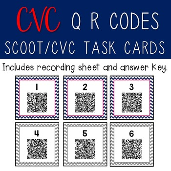 CVC Scoot/Task Cards with QR Codes