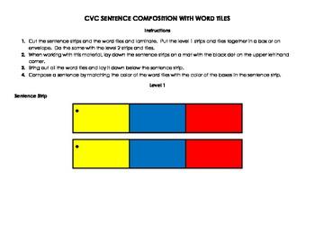 CVC Sentence Strips and Word Tiles