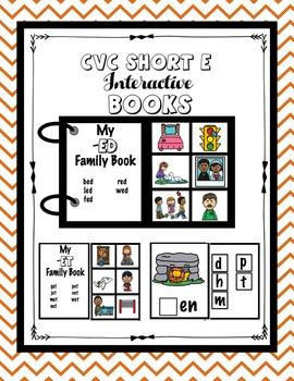 CVC Short E Word Family and Phonemic Awareness Interactive Books