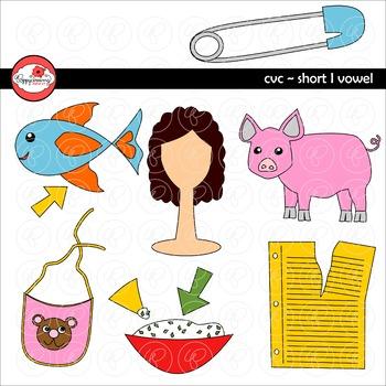 CVC Short I Vowel Clipart by Poppydreamz