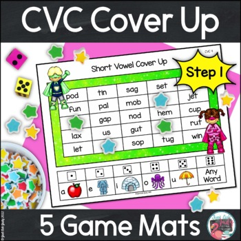 Phonics Short Vowel Game Cover Up with Superhero Kids