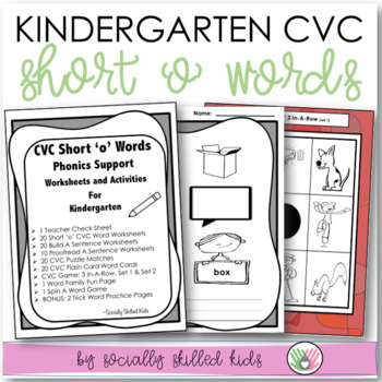CVC Short 'o' Kindergarten Phonics Support