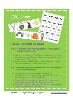 CVC Spring Game ~ Nonsense Words Included (Easter & St.Pat