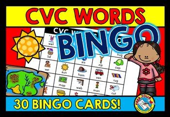 CVC ACTIVITIES: CVC WORDS BINGO GAME FOR WHOLE CLASS: CVC