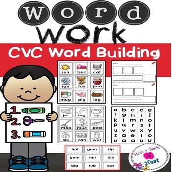 CVC Word Building-Find it, Build it, Write it (Color & Bla