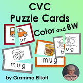 CVC Word Families Picture Word Cards for Puzzles, Matching