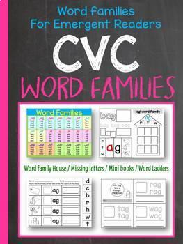 CVC Word Families / Short vowels / Handwriting / Rhyming