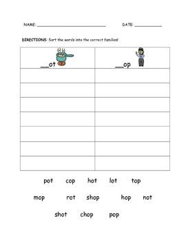 CVC Word Families Word-Work Sort