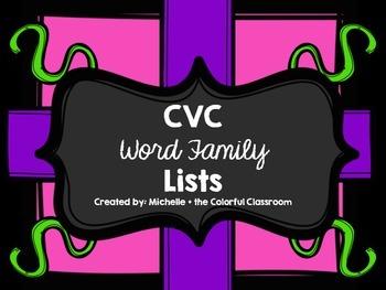 CVC Word Family Lists {freebie}