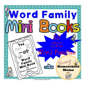 CVC Word Family Mini Books with Interactive Feel - 20 Diff